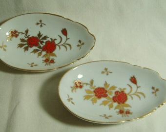 2 Egg Shaped Dishes Vintage Porcelain inv935