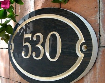 """15"""" x 9"""" Oval House Number Engraved Plaque (numbers only), Housewarming Gift, Open House Gift, Realtor Closing Gift"""