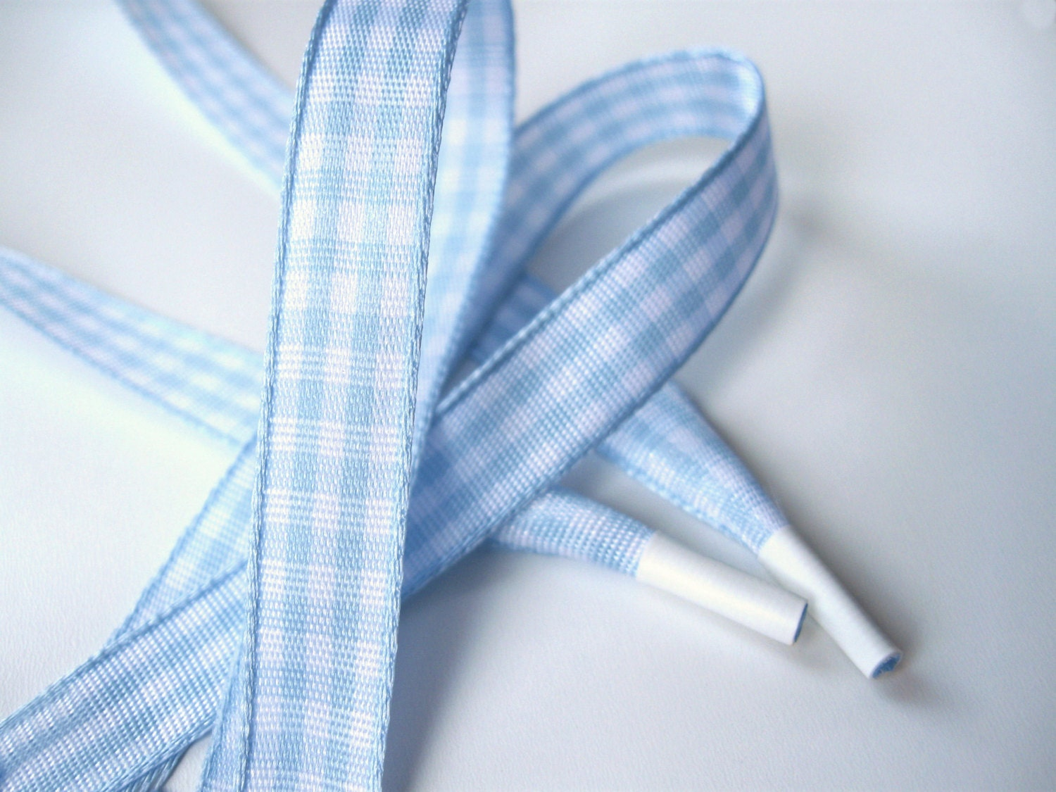 the shoelaces shop light blue gingham shoelaces ribbon