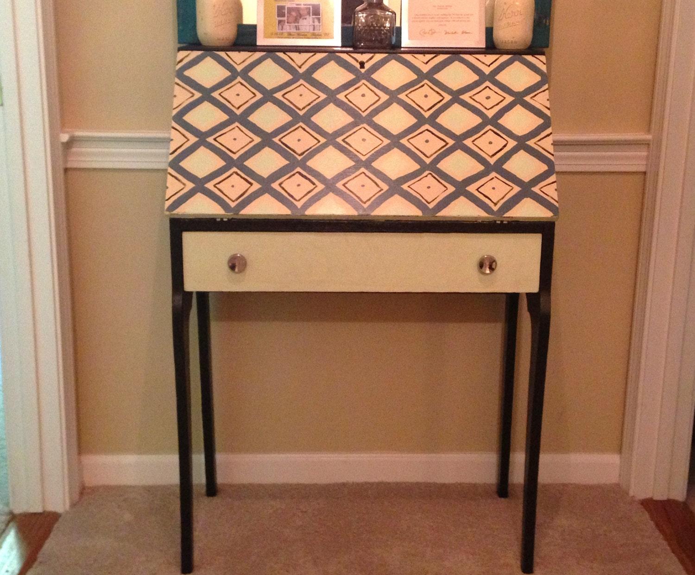 1950s Secretary Desk with Geometric Pattern by TheRustedRocker