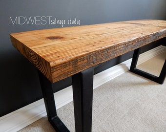 Salvaged Wood Bench with Modern Steel Legs
