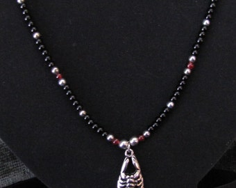 Black, Red, and Chrome Scorpion Beaded Necklace - Item Number 5094