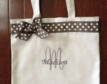 Charcoal Gray Polka Dot Monogrammed Dance Bag Personalized With Any Name
