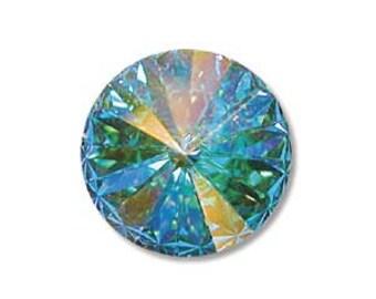 CRYSTAL AB Rivolis Swarovski Rivoli Stones Crystal Elements 12mm Qty 2 Foiled Aurora Borealis