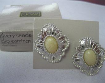 """Avon """"Silvery Sands"""" Clip Earrings"""