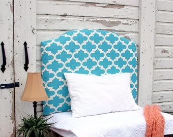 Aqua Upholstered Headboard Geometric Blue