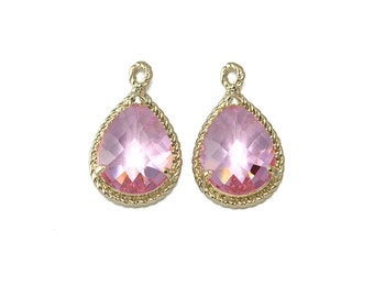 Pink Glass Pendant . Jewelry Craft Supplies . 16K Polished Gold Plated over Brass  / 2 Pcs - CG001-PG-PK