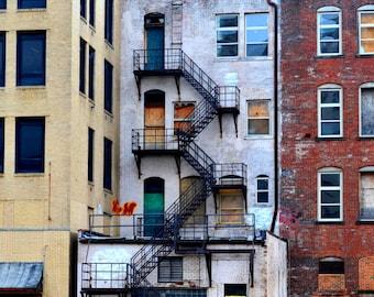 Brick Building, Downtown, Akron, Ohio, City Art, Color Print Photograph