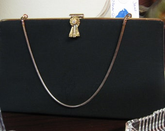 Vintage Black Hand Bag with Metal Strap