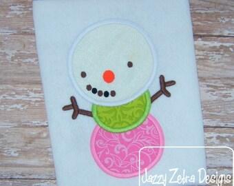 3 Color Snowman Applique Design