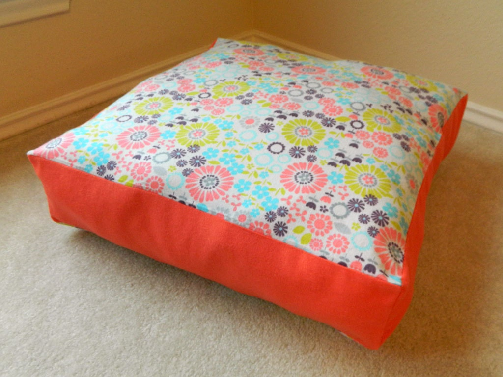 Kids floor pillow floor cushion light floral by littleboyhowdy