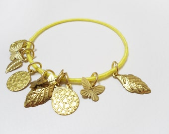 Gold charm bracelet, Gold pendants bangle, Gold leaves bracelet, Gold butterfly bracelet