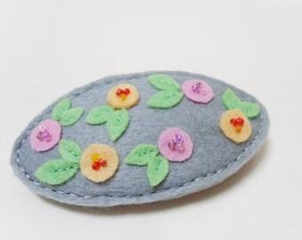 Floral french clip, Grey barrette, Felt hair clasp