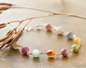 """14K Gold Wire Wrapped Delicate """"Coco"""" Bracelet with Multicolored Watermelon Tourmaline Gemstones with 14K Gold Clasp"""