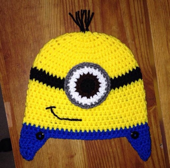 Free Crochet Pattern For Minion Hat And Overalls : Minion Beanies and Earflap Hats with Blue Overalls by spham411
