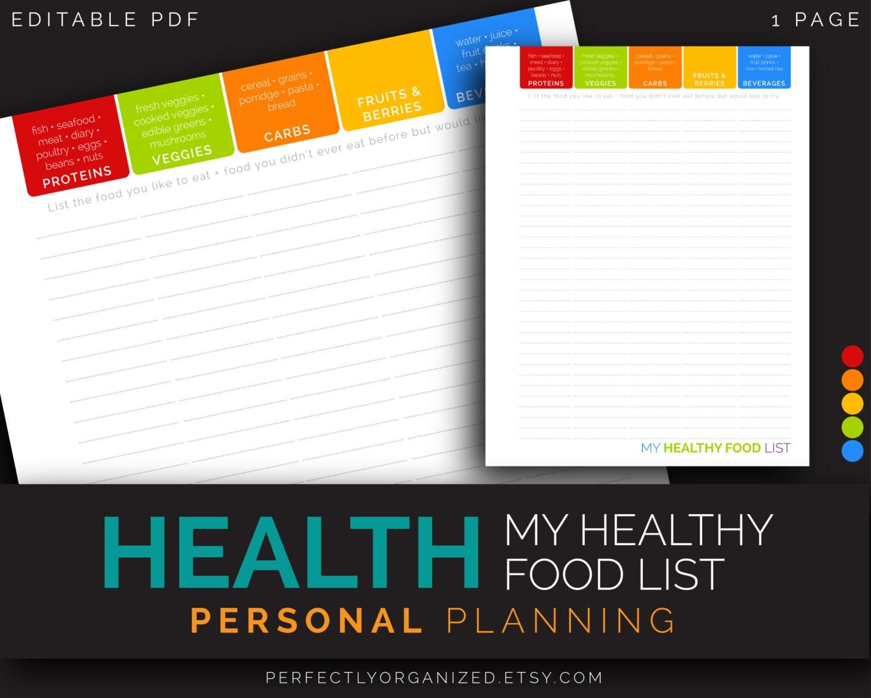 Healthy Food List Planning