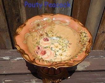 Vintage French Country Compote Apricot Rose Compote