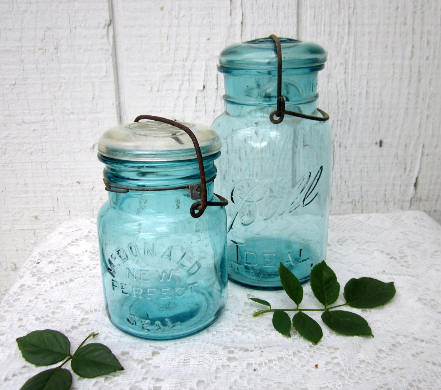Antique Blue Mason Jars Vintage Mcdonald By
