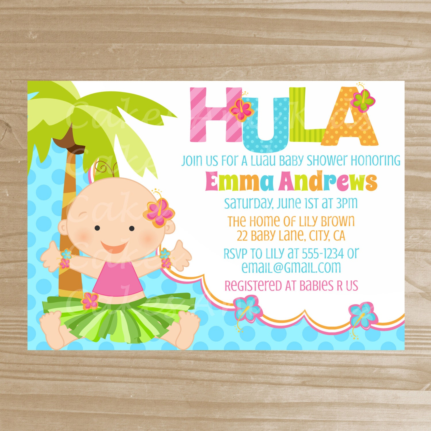 hula baby shower invitation baby girl luau by thedreamydaisy