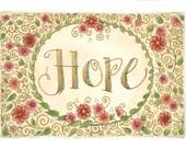 "5x7 Frameable ""Hope"" Card Print of Original Watercolor - optional Mat"