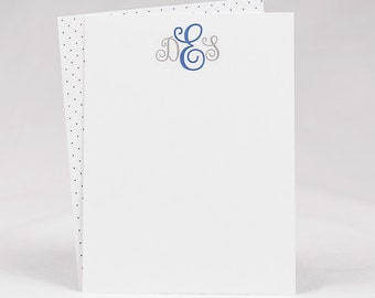 Monogrammed Stationery Set / Personalized Stationery Set / Notecard Set with Patterned Back Choice—Set of 20