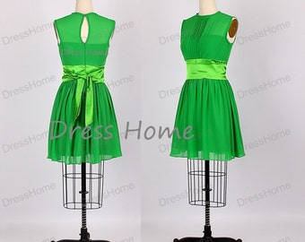 Short Bridesmaid Dresses - Green Bridesmaid Dress / Chiffon Bridesmaid Dress / Cheap Bridesmaid Dress / Evening Dress DH144