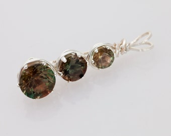 Handmade Sunstone Sterling Silver Wire Wrapped Pendant (S2164P)