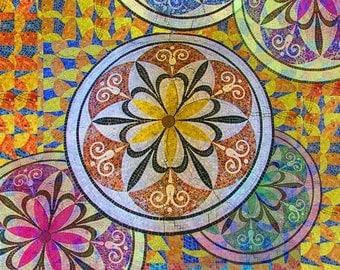 Rainbow Mosaic Circles and Flowers - Giclee Print