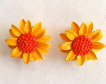 Vintage Yellow and Orange Enamel Daisy Earrings