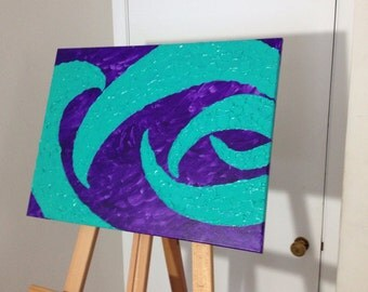 Blue and purple impasto painting