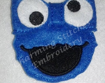 Cookie Blue Monster Inspired  Bow  In the Hoop bow Felt Bow  bow  headband embellishment in the hoop bow
