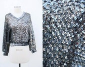 SALE Vintage 1980s Dark Silver Gray Sequin Batwing Sleeve Slouchy Knit Sweater // shiny sequined top embellished glitzy // 70s 80s // free