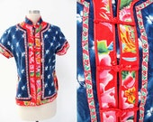 Vintage Chinese Flower Indigo Dye Shirt w/ Red Floral Trimming // asian china thailand // boho gypsy ethnic traditional // blouse top