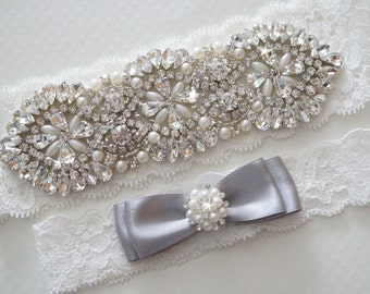 Wedding Garter Set, Bridal Garter Set, Vintage Wedding, Pearl Garter, Something Blue - Style 400