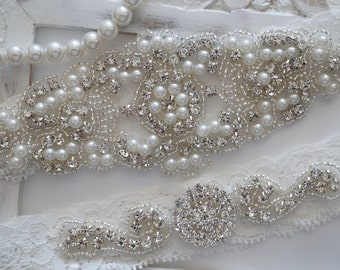 Wedding Garter Set, Bridal Garter Set, Vintage Wedding, Lace Garter, Crystal Garter Set, Pearl Garter-Style 200