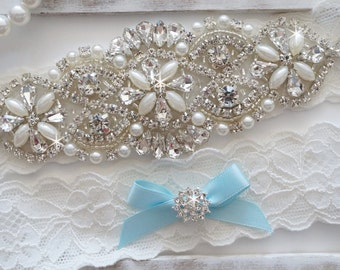 Wedding Garter Set, Bridal Garter Set, Vintage Wedding, Pearl Garter, Something Blue - Style 750