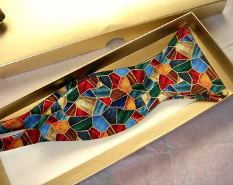 Christmas bowtie self tie stained glass bow tie