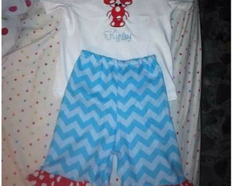 Personalized Summer Kids Lobster Outfit, Monogrammed Shirt, Ruffle Pants, Girls Summer Applique