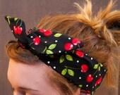 Black with Cherries Print Retro Style Twist Top Headband w/ Wire