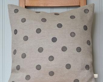 Polka dot block printed grey linen cushion cover