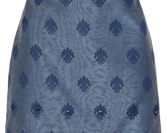 Jacquard pattern blue diamante embroidered skirt by ROSAvelt