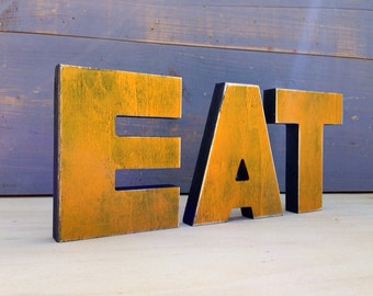 EAT sign different sizes - kitchen sign Eat, restaurant sign, available NOT Painted, PAINTED and painted and distressed, rustic. primitive.