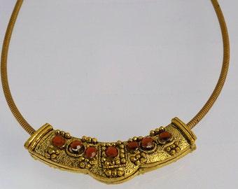 "Dark Gold Tone Necklace // Vintage Necklace // Vintage Jewelry // 14.5"" Length Necklace // Tribal Necklace"