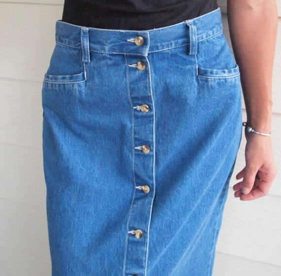 90's Kate Moss Long Denim Button Front Skirt