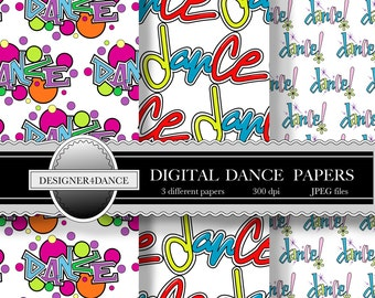 Dance Digital Download Paper for Scrapbook Gift Cards Invitations Decoupage Wrapping