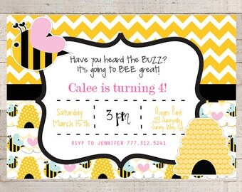 BUMBLE BEE Party Invitation- PRINTABLE- Bee Birthday Invitation, Bumble Bee Invitation, Bee Birthday Party, Bee Invitation