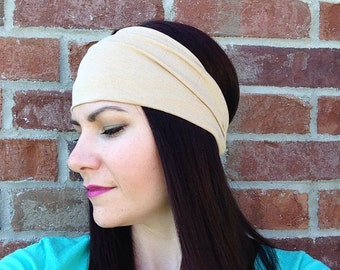 Taupe Fabric Headband, Turban, Headwrap, Women's Headband, Running, Yoga, Exercise, Hair Accessories, Beige Headband, Wide Band, Hair Wrap
