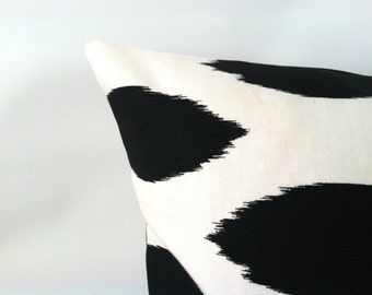 Black & White Pillow Cover. 20 x 20. One. Black Ikat. Black and White Polka Dot. Nautical Pillows. Modern Pillows. Cushion Cover
