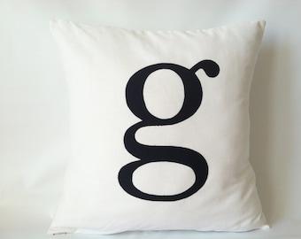 Monogram Letter Pillow Cover -  20 x 20, One, Black White Letter Pillow, Typewriter Pillow, & Pillow, Ampersand Pillow, Black White Cushions