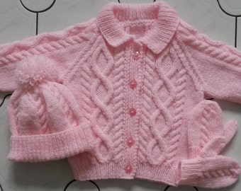 6-12 months, 1-2 yrs, 3-4 yrs, 5-6 yrs, 7-8 yrs baby/child knitted aran cardigan/jacket with hat and mitts set
